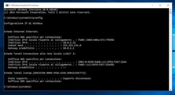 Screenshot che mostra come trovare IP su Windows
