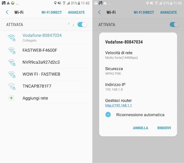 Indirizzo IP router Android