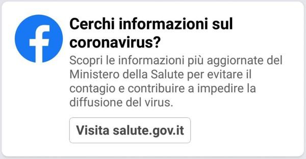 Facebook dirotta gli utenti sul sito del Ministero della Salute