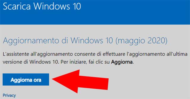 L'assistente dell'aggiornamento di Windows 10