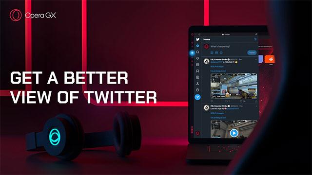 Twitter nella sidebar del browser Opera GX