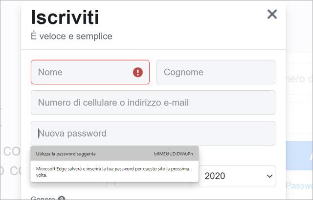 Il browser Edge suggerisce password efficaci durante la creazione degli account