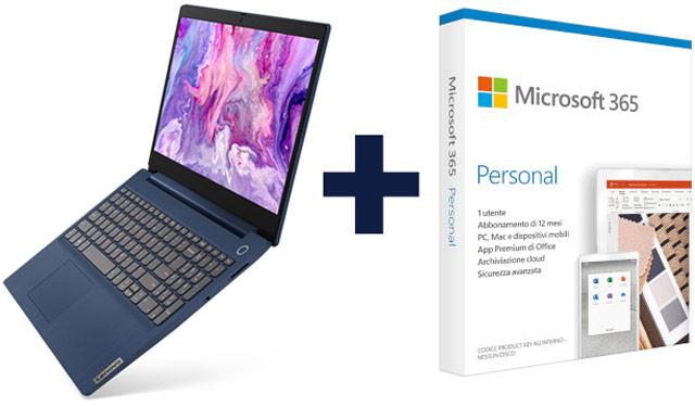 Il laptop Lenovo IdeaPad 3 e la suite Microsoft 365 Personal, insieme