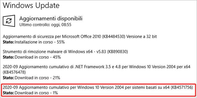 L'aggiornamento KB4571756 per Windows 10