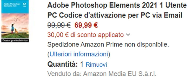 Adobe Photoshop Elements 2021 in sconto per i clienti Amazon Prime