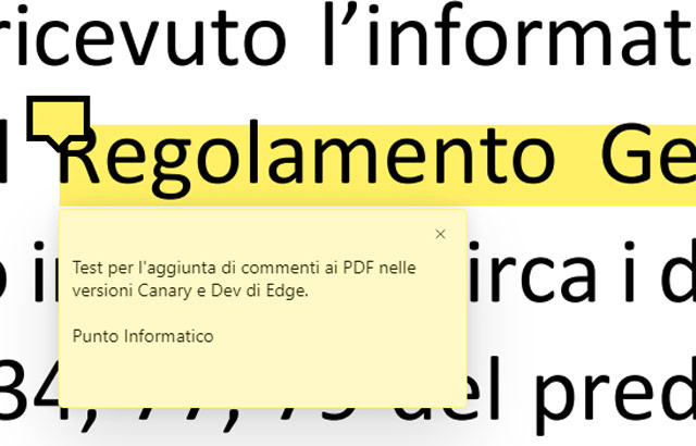 Il browser Edge permette di aggiungere commenti ai documenti PDF