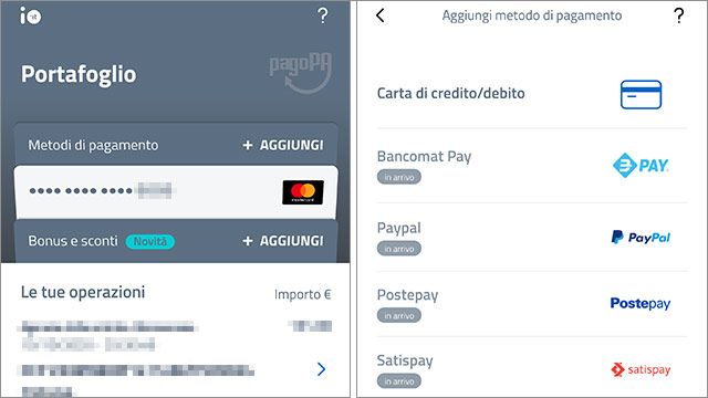 I metodi di pagamento associati all'applicazione IO