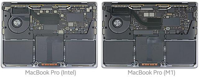 Il MacBook Pro con processore Intel e quello con Apple M1 a confronto