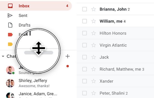 Gmail su desktop ora consente di ridimensionare i riquadri di chat e contatti