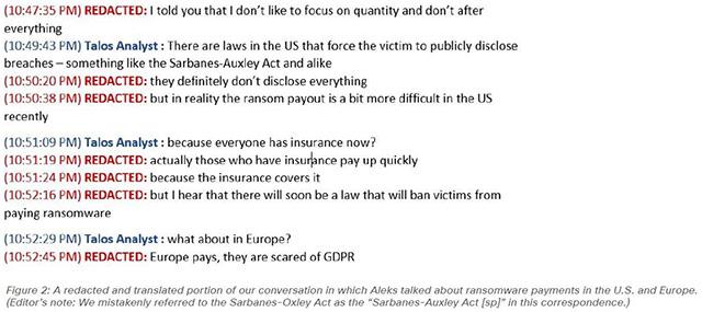Un estratto dall'intervista di Cisco Talos all'operatore ransomware