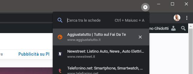 Come attivare la funzionalità Tab Search di Chrome: step 4