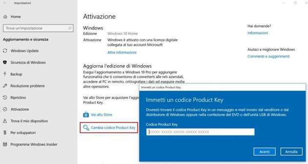 Attivazione Windows con codice licenza